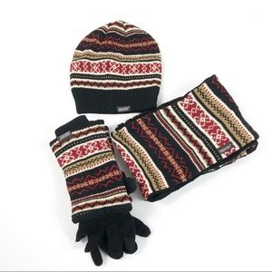 Muk Luks Reversible Hat Scarf  3 in 1 Gloves Black